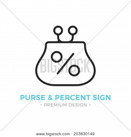 Purse and percent sign icon. Wallet and percent logo. Savings, interest money, deposit, cashback, dividends concepts. Premium quality. Modern vector thin line icon isolated on white background