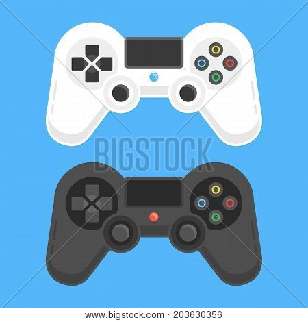 Gamepads set. White and black game controllers. Playing videogames concept. Modern flat design vector illustration
