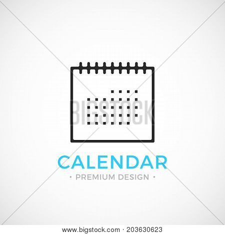 Calendar line icon. Black vector calendar icon isolated on trendy gradient background