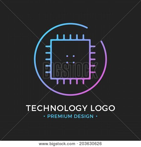 Microchip line icon. CPU, Central processing unit, computer processor, chip symbol in circle. Abstract technology logo. Simple round icon isolated on black background. Creative modern vector logo