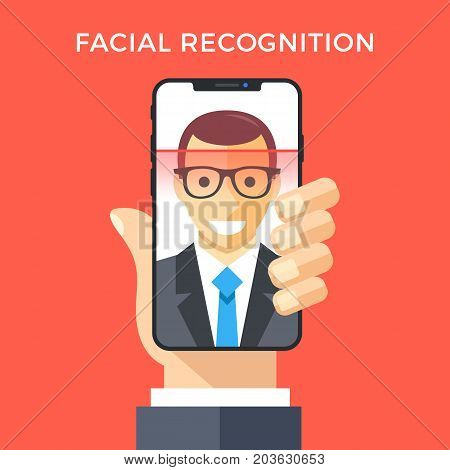 Facial recognition concept. Face ID, face recognition system. Hand holding smartphone with human head and scanning app on screen. Modern application. Flat design graphic elements. Vector illustration