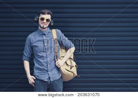 Young handsome man traveling backpacker in Chiang Mai outdoor market alone travel alone concept