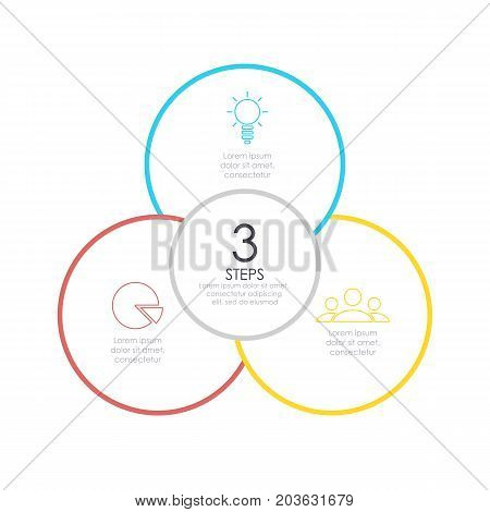 Outline round infographic. Circle diagram with 3 element, steps or options. Business concept.