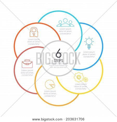 Outline round infographic. Circle diagram with 6 element, steps or options. Business concept.