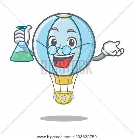Professor air balloon character cartoon vector illustration