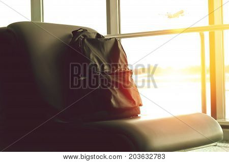 backpack was placed at the airport seat. check the bomb