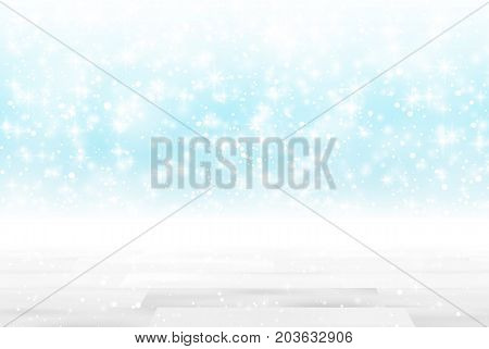 Empty wooden table in front of glitter lights background. De-focused blurred blue backdrop. Ready for product mock ups or display montage