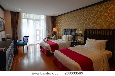 Modern Bedroom At Luxury Hotel In Dalat, Vietnam