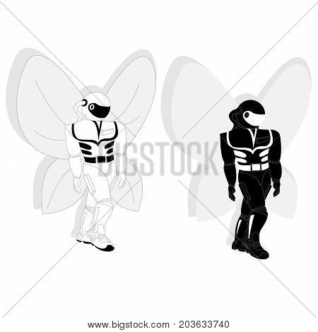 Illustration of cosmonaut astronaut with butterfly wings