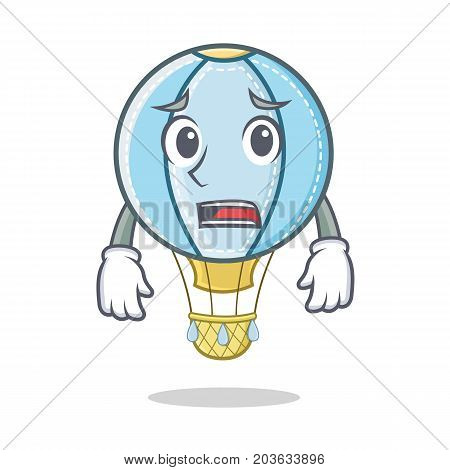 Afraid air balloon character cartoon vector illustration