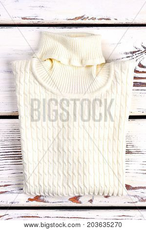 New folded cable turtleneck sweater. White knitted warm sweater on sale. Winter knit outfit.