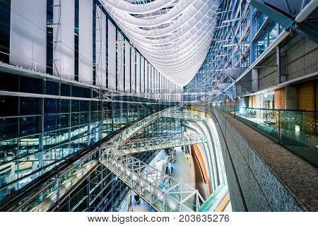 Tokyo Japan - November 27 2016: Interior of The Tokyo International Forum is a multi-purpose exhibition center in Tokyo Japan