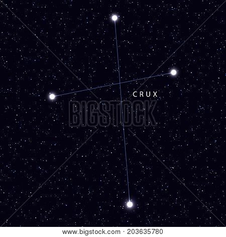 Sky Map with the name of the stars and constellations. Astronomical symbol constellation Crux