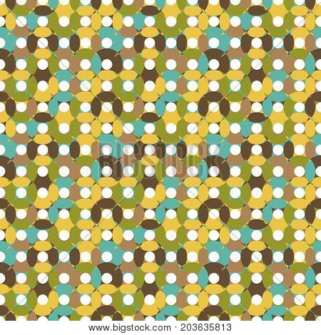Seamless pattern made of round shapes in different shades of muted yellow brown blue and green with white centers oval and round shapesoverlay CD illusiion