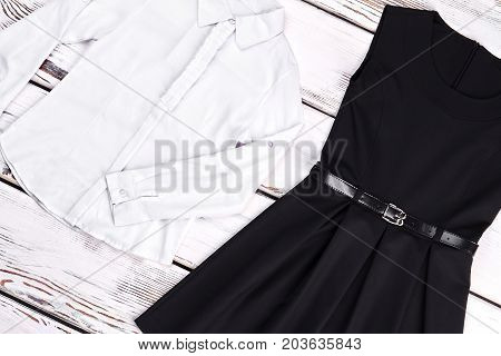 White shirt and black dress for girls. Little girls black and white clothes on sale. Cute brand apparel for little girls.