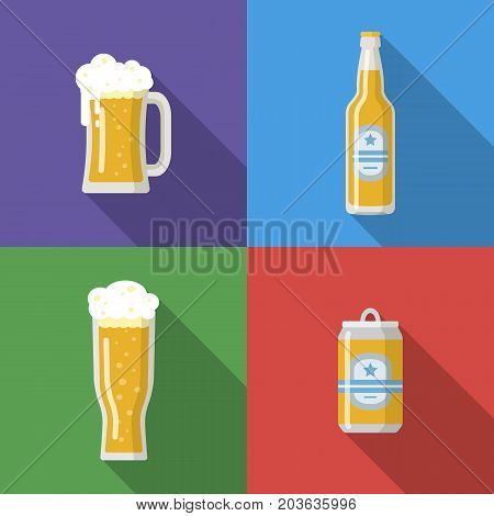 Beer mug, glass, bottle, beer can isolated icons. Vector image for web, poster, invitation to party - time to drink. Colorful vector illustration in flat style.