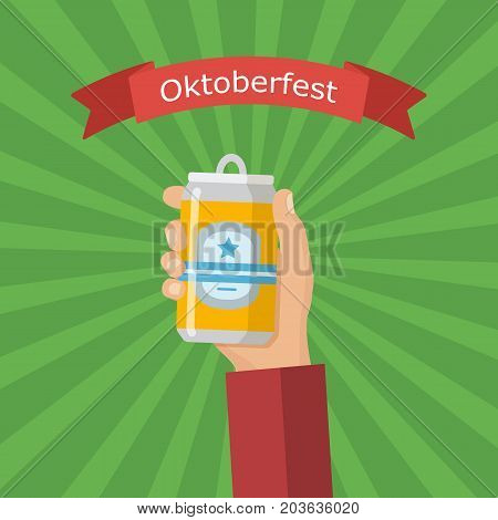 Hand holding aluminum can of beer. Concept of Beer Festival.Vector image for web, poster, invitation to party - time to drink. Colorful vector illustration in flat style. Oktoberfest.