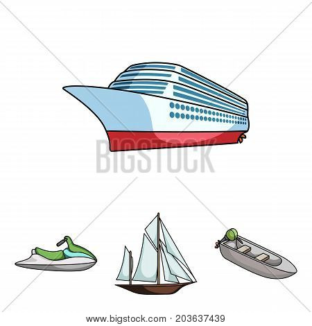 Ancient sailboat, motor boat, scooter, marine liner.Ships and water transport set collection icons in cartoon style vector symbol stock illustration .
