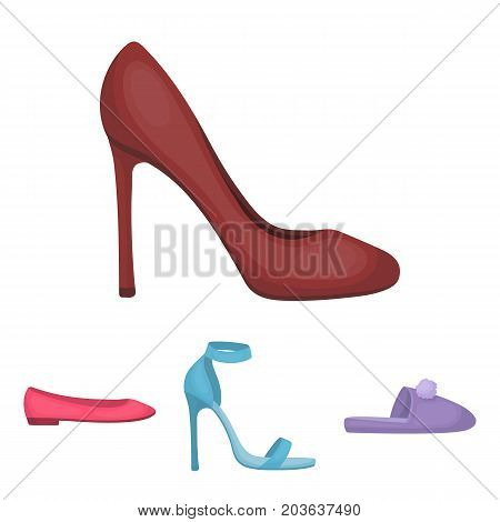 Blue high-heeled sandals, homemade lilac slippers with a pampon, pink women's ballet flats, brown high-heeled shoes. Shoes set collection icons in cartoon style vector symbol stock illustration .