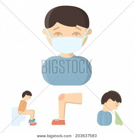 A foot with a bruise in the knee, sneezing sick, a man sitting on the toilet, a man in a medical mask. Sick set collection icons in cartoon style vector symbol stock illustration .
