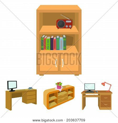 A shelf with a flower, a desk with a computer and a lamp, a table with a monitor and a book, a cabinet with documents and a radio.Furniture and interior set collection icons in cartoon style isometric vector symbol stock illustration .