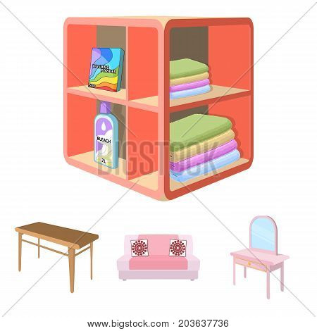 Soft sofa, toilet make-up table, dining table, shelving for laundry and detergent. Furniture and interior set collection icons in cartoon style isometric vector symbol stock illustration .