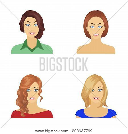 The appearance of a woman with a hairdo, the face of a girl. Face and appearance set collection icons in cartoon style vector symbol stock illustration .