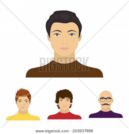 The appearance of the young guy, the face of a bald man with a mustache in his glasses. Face and appearance set collection icons in cartoon style vector symbol stock illustration .