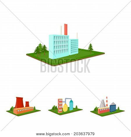 Processing factory, metallurgical plant. Factory and industry set collection icons in cartoon style isometric vector symbol stock illustration .