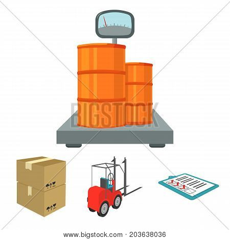 Forklift, delivery slips, packaged goods, cargo on weighing scales. Logistics and delivery set collection icons in cartoon style isometric vector symbol stock illustration .