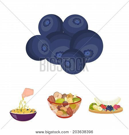 Assorted nuts, fruits and other food. Food set collection icons in cartoon style vector symbol stock illustration .