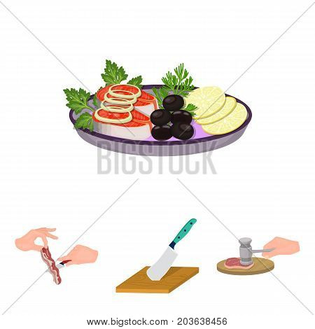Cutlass on a cutting board, hammer for chops, cooking bacon, eating fish and vegetables. Eating and cooking set collection icons in cartoon style vector symbol stock illustration .