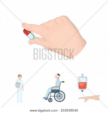 Invalid with trauma, blood transfusion, doctor, medication in the hands of a doctor. Medicineset collection icons in cartoon style vector symbol stock illustration .