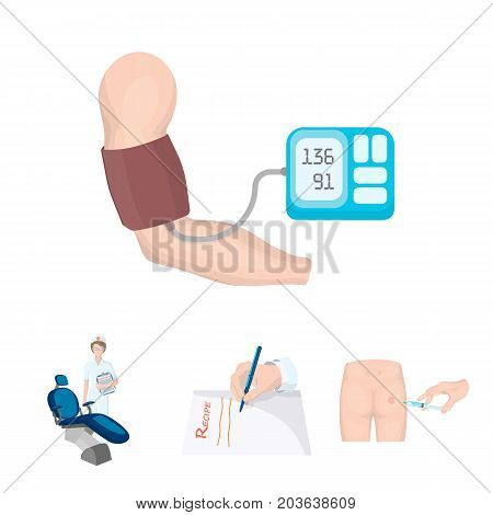 Intramuscular injection, prescription, Dentist, blood pressure measurement. Medicineset collection icons in cartoon style vector symbol stock illustration .