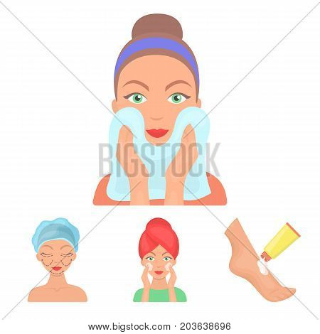 Face care, plastic surgery, face wiping, moisturizing the feet. Skin Care set collection icons in cartoon style vector symbol stock illustration .