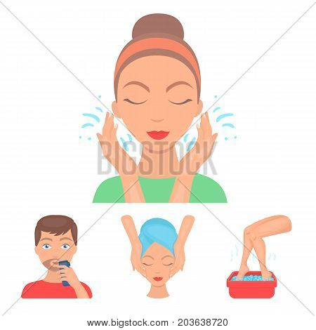 Face massage, foot bath, shaving, face washing. Skin Care set collection icons in cartoon style vector symbol stock illustration .