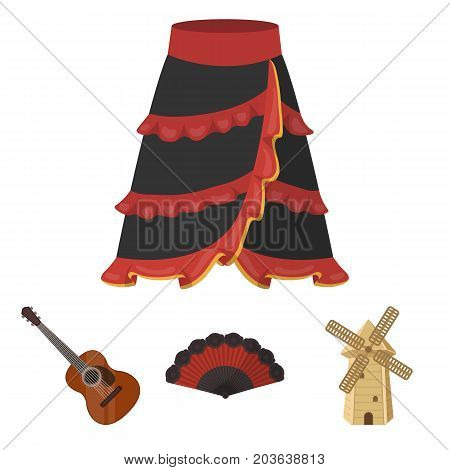 Fan Spanish, mill, guitar, skirt for national Spanish dances. Spain country set collection icons in cartoon style vector symbol stock illustration .