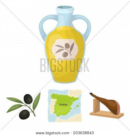Map of Spain, jamon national dish, olives on a branch, olive oil in a bottle. Spain country set collection icons in cartoon style vector symbol stock illustration .