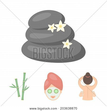 Face with a cosmetic mask with cucumbers, massage hands, bamboo, stones with lotus flowers. Spa set collection icons in cartoon style vector symbol stock illustration .