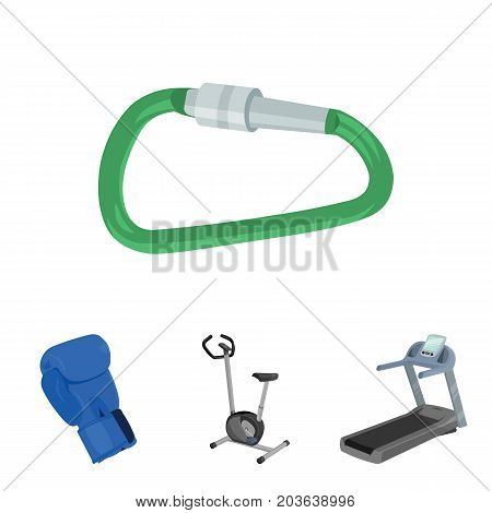 Exercise bike, treadmill, glove boxer, lock. Sport set collection icons in cartoon style vector symbol stock illustration .