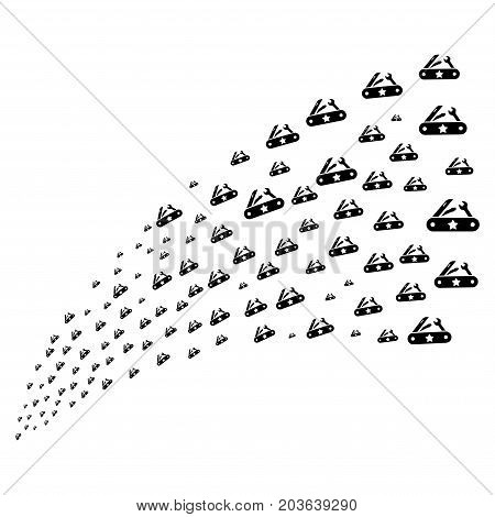 Source stream of universal army knife symbols. Vector illustration style is flat black iconic universal army knife symbols on a white background. Object fountain made from icons.