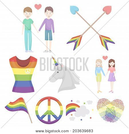 Gay set icons in cartoon style. Big collection of gay vector symbol stock