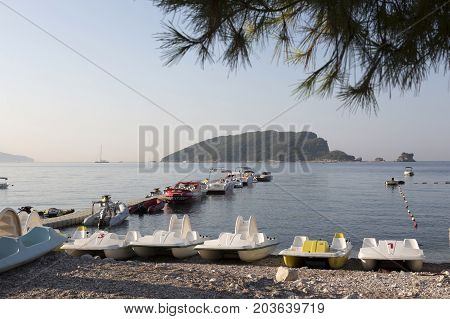 BUDVA, MONTENEGRO - AUGUST 08, 2017:Boat parking on the Budva embankment Montenegro.