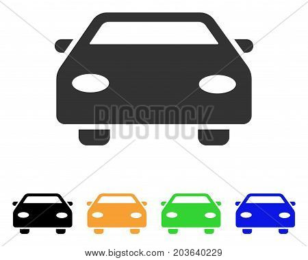 Car icon. Vector illustration style is a flat iconic car symbol with black, grey, green, blue, yellow color variants. Designed for web and software interfaces.