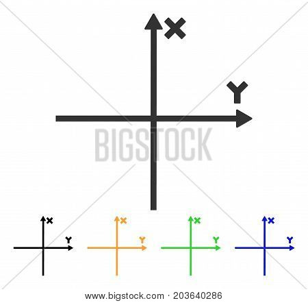 Cartesian Axes icon. Vector illustration style is a flat iconic cartesian axes symbol with black, gray, green, blue, yellow color variants. Designed for web and software interfaces.