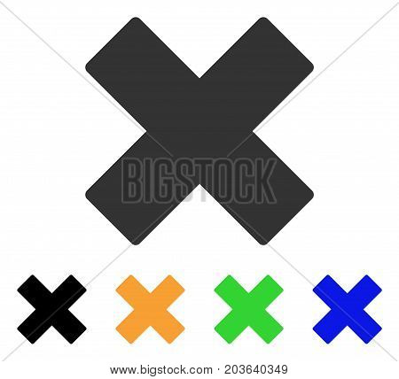 Delete X-Cross icon. Vector illustration style is a flat iconic delete x-cross symbol with black, grey, green, blue, yellow color variants. Designed for web and software interfaces.