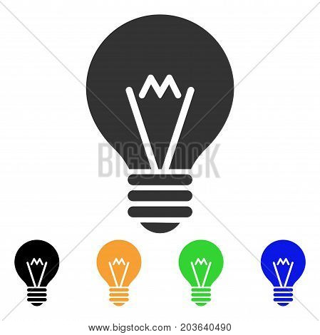 Hint Bulb icon. Vector illustration style is a flat iconic hint bulb symbol with black, gray, green, blue, yellow color variants. Designed for web and software interfaces.