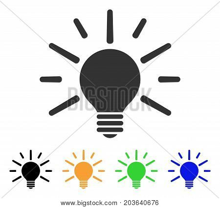 Light Bulb icon. Vector illustration style is a flat iconic light bulb symbol with black, grey, green, blue, yellow color variants. Designed for web and software interfaces.