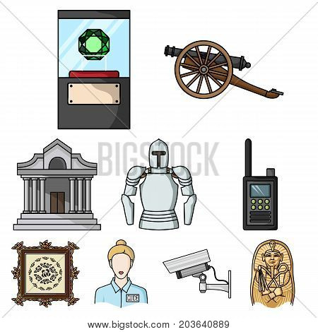 Museum set icons in cartoon style. Big collection of museum vector symbol stock