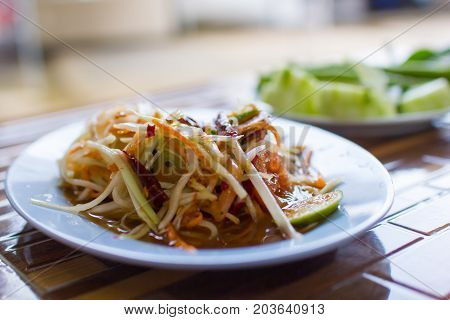 Papaya salad Thai cuisine spicy delicious :